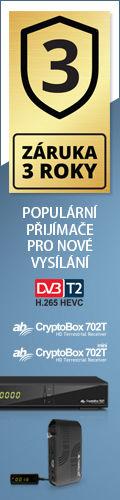 DVB-T2 settopboxy AB CryptoBox s 3 letou zárukou