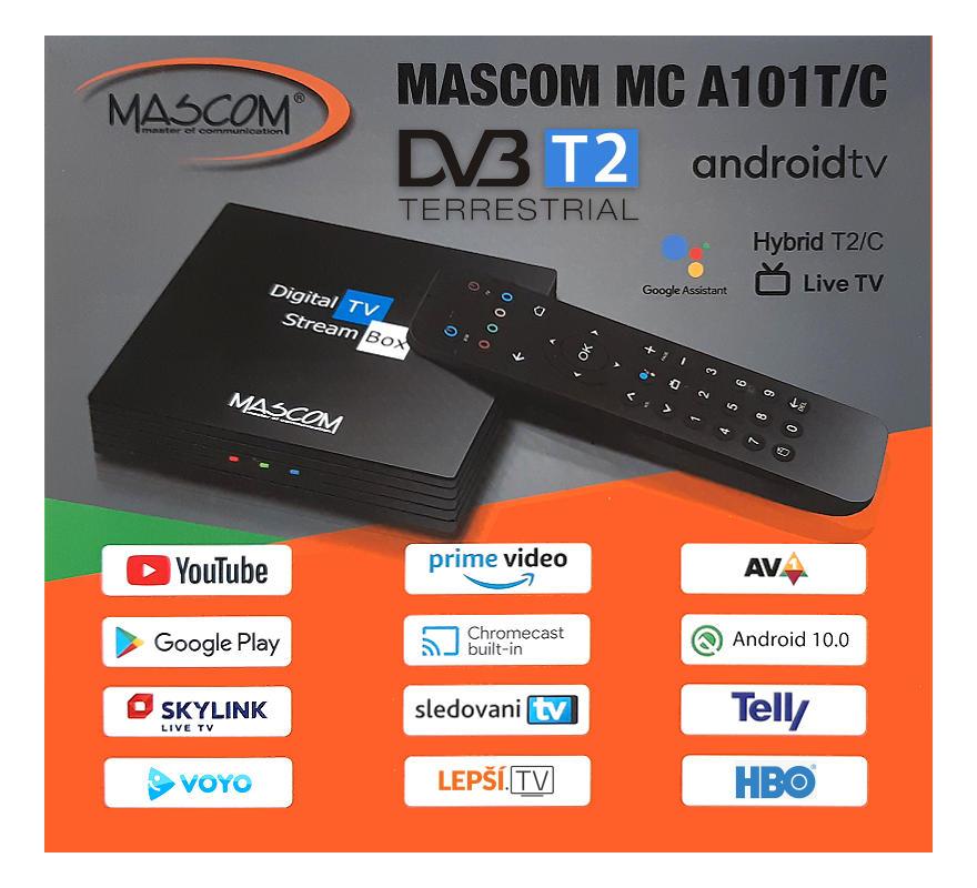 MASCOM MC A101T/C Android TV 10.0 box 4K s tunerem DVB-T2/C