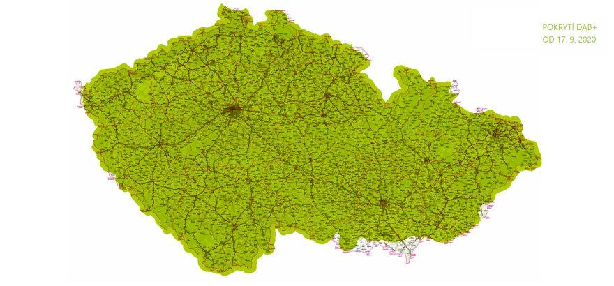 Mapa pokrytí DAB+ rádia